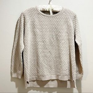 BODEN Textured Cotton Knit Pullover Beige Sweater